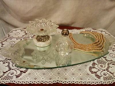 Vintage large mirror vanity perfume dresser tray with clear glass flower handles