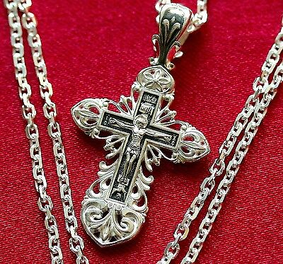 CHRISTIAN GIFT SET STERLING SILVER CHAIN + CRUCIFIX. RUSSIAN ORTHODOX. SALE !!!