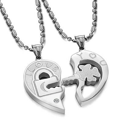 Heart-shaped Puzzle Couple Titanium Steel Pendant Necklace Lovers Gift GX553