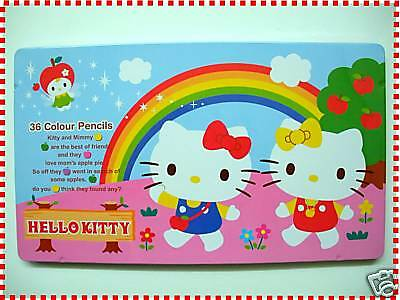 Genuined Sanrio Hello Kitty  36 Colour Pencils,with Metal Box,New