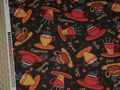 VIP CRANSTON quilt-craft fabrc NOW BREWING 2 yds COFFEE CUPS black Exclusive
