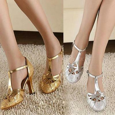 Woman Ladies Glitter Latin Dance Shoes Ballroom Party Prom 6cm High Heels Sandal
