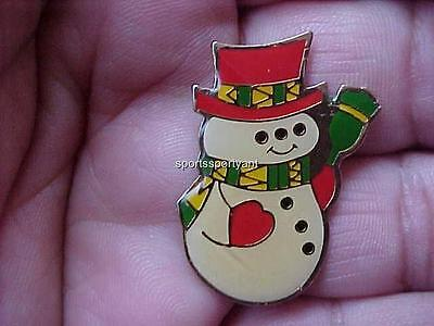 Vintage Christmas Pin Snow Man Enamel Clear Coated 1 x 1 1/4 Gold Tone Metal