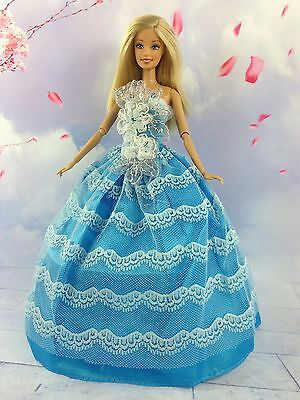 Blue Fashion Princess Party Flower Dress Clothes/Gown For Barbie Doll y16