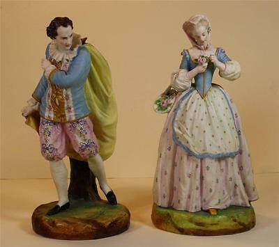 Pare of Antique French Bisque Porcelain figurines Vion Baury style circa 19 c.