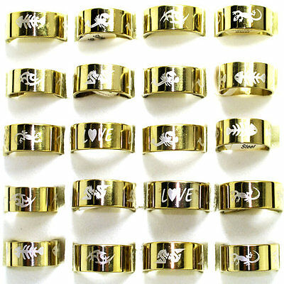 Wholesale jewelry lots 20pcs Mix Gold Plated Stainless Steel Men's rings BD83
