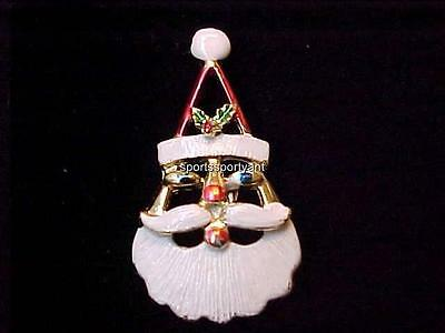 Vintage Christmas Pin Santa Face Enamel Gold Tone Metal 2 x 1 Quality Pin