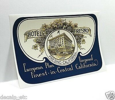 Hotel Fresno California Vintage Style Travel Decal / Vinyl Sticker,Luggage Label