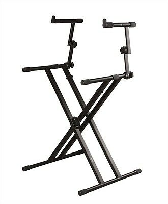 """Gator Frameworks Keyboard Stand - Deluxe 2 Tier Adjustable """"X"""" Style Stand"""
