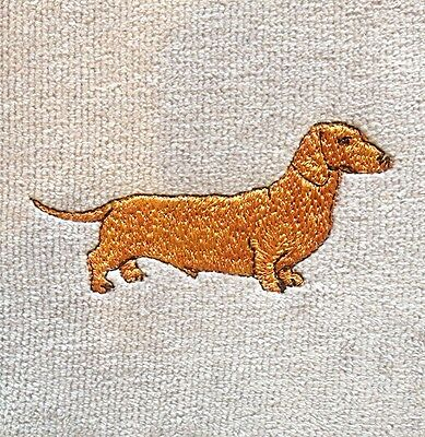 Dachshund Smooth Embroidered Towel Personalized