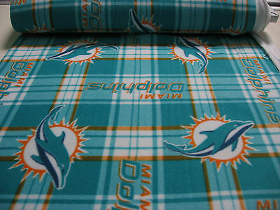 Licensed NFL polar FLEECE  fabric MIAMI DOLPHINS Sport Plaid 2 yds HOTcolors