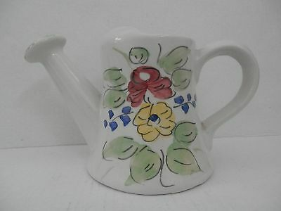 JCAP Hand Painted Signed Ceramic Floral Watering Can Vase Italy Vintage Planter