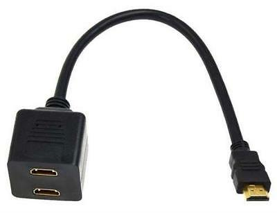 Gold Plated HDMI Male to Dual HDMI Twin Female Y Splitter Cable Adapter For HDTV
