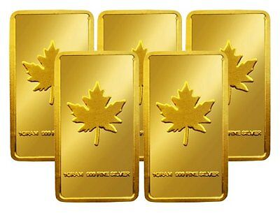 Lot of 5 - .999 Fine Silver Maple Leaf 1 Gram Bars Layered With 24k Gold