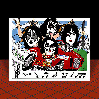 KISS artist signed POSTER ART, gene simmons paul stanley ace frehley peter criss