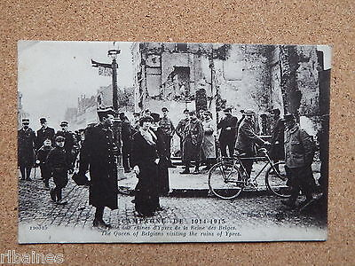 R&L Postcard: WW1 Queen of Belgium Visiting Ypres Bomb Damage Ruins, Bicycle