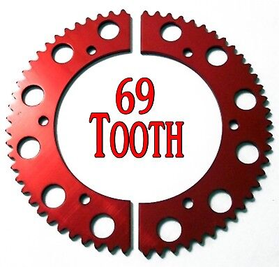 69T Tooth #35 Chain Split Sprocket Two 2 Piece Gear Racing Go Kart Drift Trike