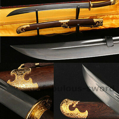 """29"""" FULL TANG BLADE FOLDED STEEL ROSEWOOD CHINESE QING SWORD VERY SHARP清刀"""