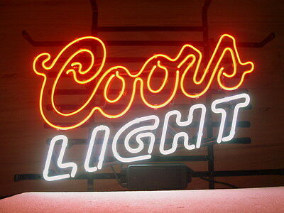 NEW COORS LIGHT SILVER BULLET  BEER REAL GLASS NEON LIGHT BAR PUB SIGN