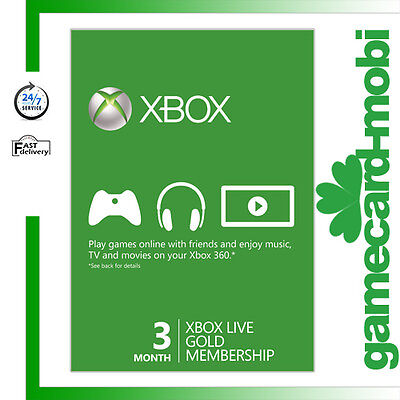 Microsoft XBOX 360 XBOX ONE Membership 3 Month Card / Xbox Live GOLD 3 Month CA