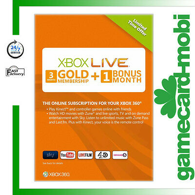 Microsoft XBOX 360 XBOX ONE 3+1 Month Card/ Xbox Live GOLD Membership 4 Month CA