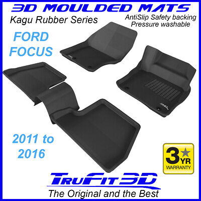 Ford Focus 2011 to 2016 Black Rubber 3D Floor Mats