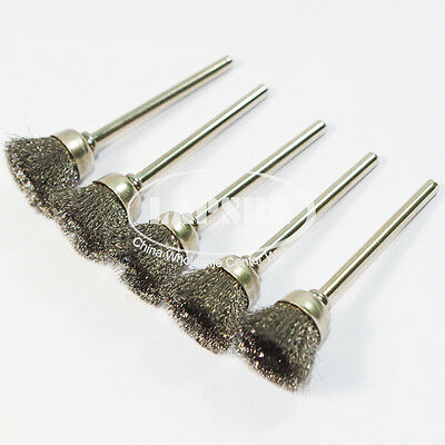 5pc 3mm Mounted Steel Wire Rotary Cup Brush Wheel Mandrel Shank Fit Dremel Tool