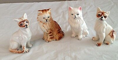 Set of 4 Vintage Fine Bone China  Cat Figurines made in Taiwan-Orig Sticker on 2