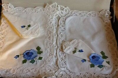 4  battenburg Lace Blue Pansy Pocket Placemats & Napkins Hand made Embroidery