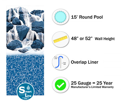 15' Ft Round Overlap Waterfall Above Ground Swimming Pool Liner-25 Gauge