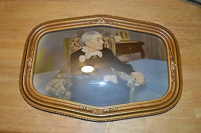"Vintage Antique Convex Wood Bubble Glass Photo Picture Frame 17"" X 12"""