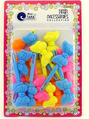 Tara Girls Self Hinge Plastic Bow Hair Barrettes - 20 Pcs. (08690)