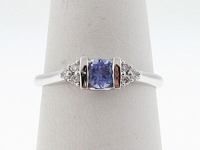 Natural Tanzanite Diamonds Solid 14k White Gold Ring FREE Sizing