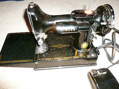Singer sewing machine model 221, case, portable table and card playing cover USA