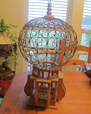 Victorian Style Wood/Wire Vintage carved Bird Cage