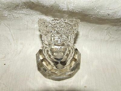 Antique TOOTHPICK HOLDER American Brilliant Period Cut Glass Polished Pontil