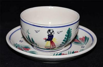 Henriot Quimper Cup & Saucer Set, Lady on Center, Yellow, Red & Blue Dress