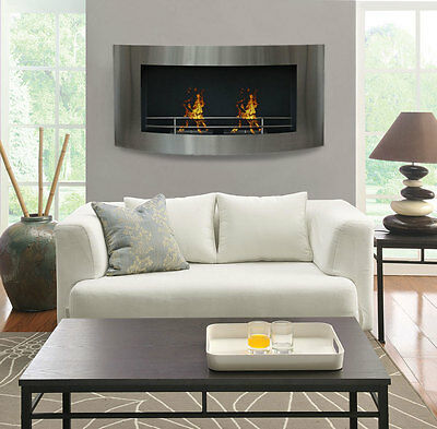 "New Large Modern 48"" Stainless Curved Wall Mount Vent-Free Fuel Fireplace Heater"