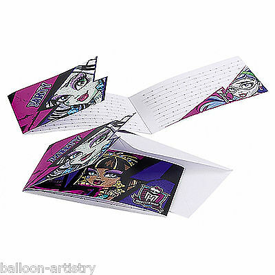 6 Monster High 2 Party Birthday Pink Black Party Invitations and Envelopes