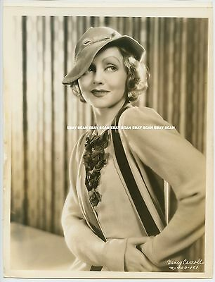 NANCY CARROLL BEAUTIFUL VINTAGE LINEN BACK PORTRAIT PHOTO