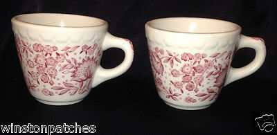 SYRACUSE MAYFLOWER RED PINK 2 RESTAURANT CUPS MUGS 8 OZ CAPACITY FLOWER FLORA