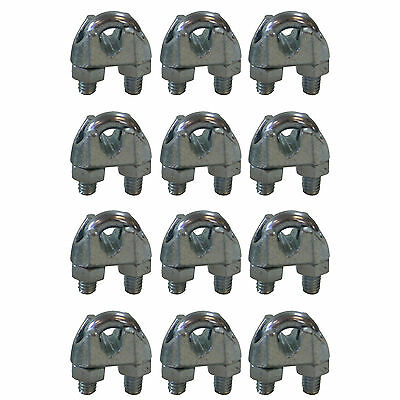 West Coast Wire Rope CPML014 Galvanized Steel 1/4-inch Cable Clamp Clip, 12-Pack