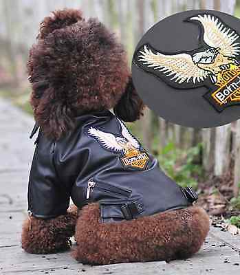 SMALL/MEDIUM FAUX LEATHER DOG MOTORCYCLE BIKER COAT pet clothes jacket S/M