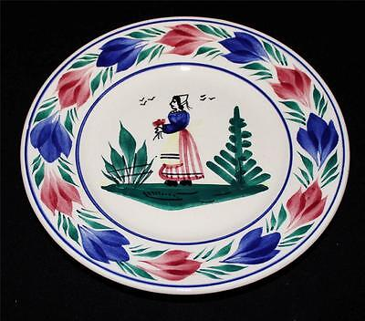 """Henriot Quimper Bread & Butter Plate, 6 1/2"""", Woman or Lady Center, Faience"""