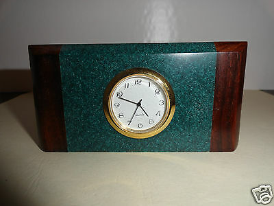 Green Marble Look/Cherry Wood Desk Clock/Sticky Note/Business Card Holder