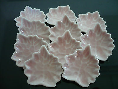 10 Pink Maple Plate Dollhouse Miniatures Ceramic Supply Deco