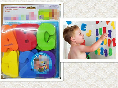 36 Pieces Munchkin Bath Learn Letters & Numbers Stick on Baby Bathroom Toy!