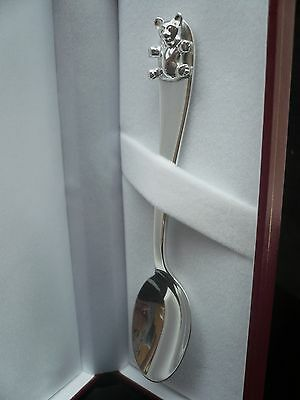 Sterling Silver Christening Spoon, New Born Baby, Teddy Bear, Hallmarked Gift