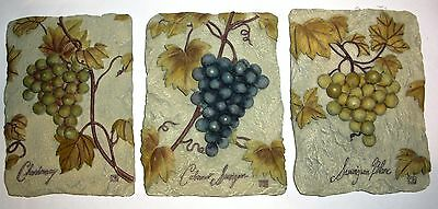 3 D Look Wine Grape Vineyard Theme Wall Hanging Plaque Chardonnay Cabernet
