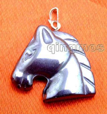 SALE Big 24mm Black Horse Head natural Hematite Pendant-nec5730